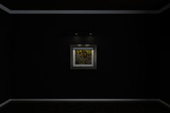 Wall flooring and plinths on the wall hangs a picture which shows a drop of dew. 3d illustration. Wall flooring and plinths on the wall hangs a picture which Royalty Free Stock Photos