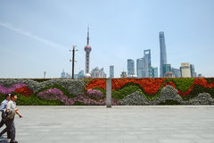 The Wall of Flowers in the Bund, Shanghai, China Stock Photo