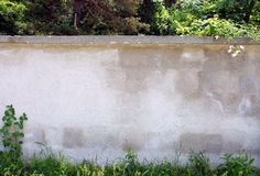 Wall  in the forest. Beginning to overgrow by grass and flowers Stock Photo
