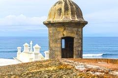 The wall of fort San Cristobal in San Juan, Puerto Rico. Beautiful panoramic view of the large outer wall with sentry box of fort San Cristobal in San Juan Stock Image
