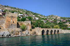 Wall of fortress in Alanya, Turkey Stock Photos