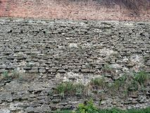 The wall of the fortress in the city of Dubno. On a summer day. Stock Images