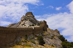 Wall fortress in Crimea Stock Photos