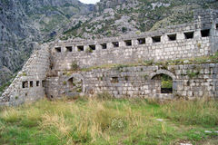 The wall of the fortress. Wall fortifications in Kotor (Montenegro Stock Images