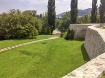 Wall of Fortress Kastel and path along Fortress stock image