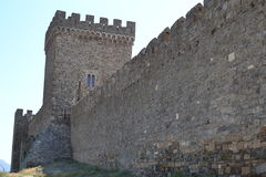 The wall of the fortress. The old ancient castle royalty free stock photography