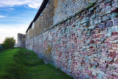 The wall of fortress Oreshek. Shlisselburg. Russia. Shlisselburg is a fortress near Saint Petersburg, Russia, situated at the head of the Neva River on Lake Royalty Free Stock Photo