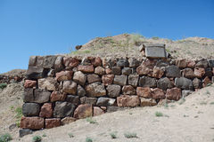 Wall in the fortress with the tablet Royalty Free Stock Photography