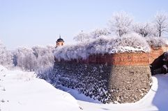 Wall of fortress in the winter Stock Photos