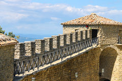 The wall  of fortresses Guaita on Mount Titan. Royalty Free Stock Image