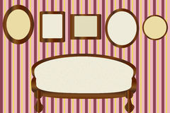 A wall with frames for portraits Royalty Free Stock Images