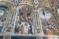 Wall frescoes in biblioteca Piccolomini of Siena Cathedral. Duomo, Siena, Tuscany, Italy. Royalty Free Stock Image