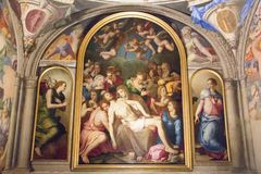 Wall frescoes in the Eleonora`s Chapel, Palazzo Vecchio, Florence, Italy. stock photos