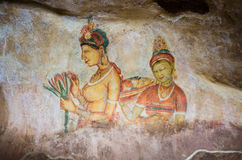Wall Frescoes at Sigiriya Rock Fortress, UNESCO World Heritage Site, Sri Lanka Royalty Free Stock Image