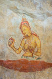 Wall Frescoes at Sigiriya Rock Fortress, UNESCO World Heritage Site, Sri Lanka Royalty Free Stock Photos