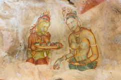 Wall Frescoes at Sigiriya Rock Fortress, UNESCO World Heritage Site, Sri Lanka Stock Images