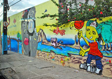 A wall full of illegal graffiti. Recife, Pernambuco, Brazil, 2009. A wall full of illegal graffiti Royalty Free Stock Image