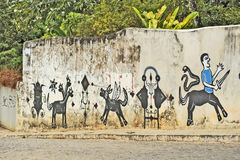 A wall full of illegal graffiti. Recife, Pernambuco, Brazil, 2009. A wall full of illegal graffiti Stock Photography