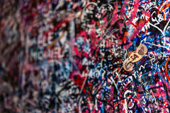 The wall full of messages, Verona, Italy. Royalty Free Stock Image