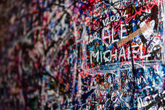 The wall full of messages, Verona, Italy. Royalty Free Stock Photo