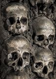 Wall full of skulls and bones Royalty Free Stock Images