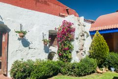 Santa Catalina monastery in Arequipa. Wall and a garden in Santa Catalina monastery in Arequipa, Peru stock photography
