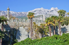 Wall and garden Vorontsov Palace. Wall and Park Vorontsov Palace in Alupka on the background of mount AI-Petri stock image