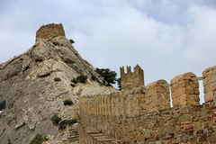 Wall of the Genoa fortress in the Crimea Stock Photos