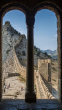 Wall of Genoa fortress in Sudak Crimea, view from the window in tower Stock Photos