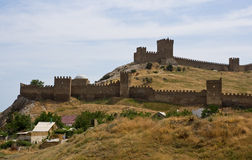 The wall of the Genoese fortress. The wall of the Genoese fortress in Sudak (Crimea Stock Images