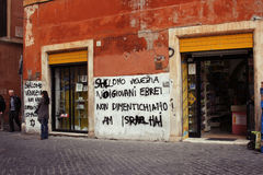 Wall in Ghetto. Rome, Italy Stock Images