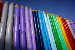 Wall of giant pencils Stock Images