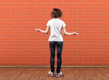 Wall before a girl Stock Image