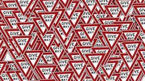 Wall of Give Way Signs Royalty Free Stock Photos