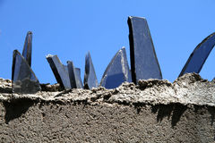 Wall with glass fragments Royalty Free Stock Images