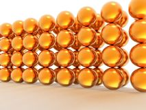 Wall of gold spheres Stock Photo