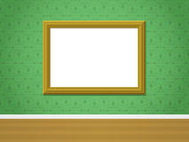 Wall with golden picture frame and ornamental wall Stock Photography