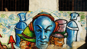 Wall graffiti. Made by the students from Arts high school in their school backyard; back in 2009. Location: Timisoara, Romania Stock Photography