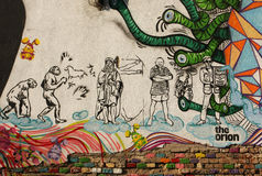 Wall graffiti. In Timisoara,( west Romania ) historic center representing stylized human evolution royalty free stock photo