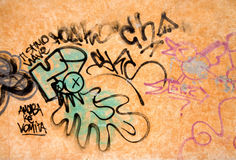 Wall with graffiti Royalty Free Stock Photos