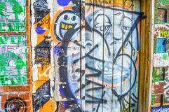 Downtown Toronto graffiti. A wall with graffiti in downtown area of Toronto, Canada Stock Images