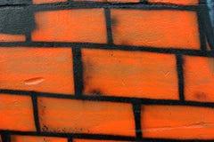 Wall graffiti drawing. Horizontal perspective Royalty Free Stock Image