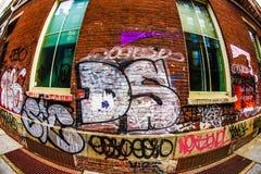 The wall of graffiti Manhattan. Shooting location :  Manhattan, New York stock image