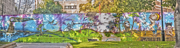 Wall graffiti in Santiago Stock Image