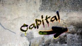 Wall Graffiti to Capital. Wall Graffiti the Direction Way to Capital stock photo