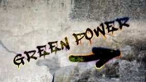 Wall Graffiti to Green Power. Wall Graffiti the Direction Way to Green Power royalty free stock photo