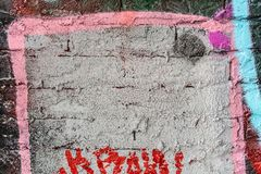 A wall with graffiti of unknown artists. Street art. Copyspace for text and design Stock Photos