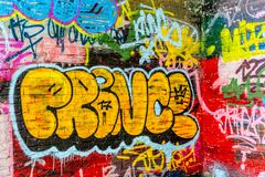 A wall with graffiti of unknown artists. Street art. Copyspace for text and design Stock Image