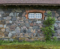 Wall from granite stones with a window and a tree, the old aspha Stock Photography