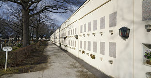 Wall with graves for cinerary urns Royalty Free Stock Photography
